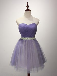 Flare A-line Court Dresses for Sweet 16 Lavender Sweetheart Tulle Sleeveless Mini Length Lace Up