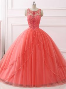 Simple Tulle Sleeveless Sweet 16 Dresses Brush Train and Beading and Lace