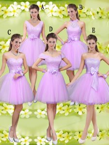 Affordable Sweetheart Sleeveless Quinceanera Court of Honor Dress Knee Length Lace and Belt Lilac Tulle