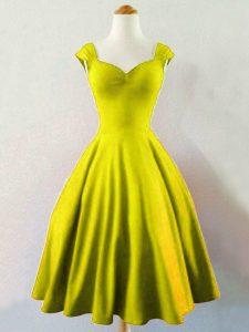 Sleeveless Knee Length Ruching Lace Up Quinceanera Court Dresses with Olive Green