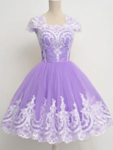 Knee Length Zipper Dama Dress for Quinceanera Lavender for Prom and Party and Wedding Party with Lace