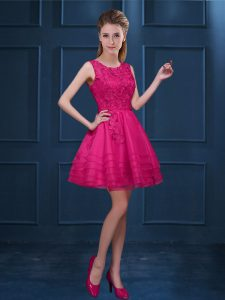 Lovely Hot Pink Tulle Zipper Vestidos de Damas Sleeveless Knee Length Lace and Ruffled Layers