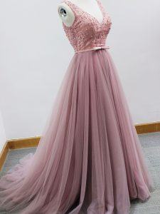 Latest Pink Tulle Zipper Court Dresses for Sweet 16 Sleeveless Brush Train Beading and Belt