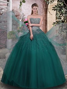 Glamorous Sleeveless Tulle Floor Length Lace Up Quinceanera Dress in Dark Green with Beading