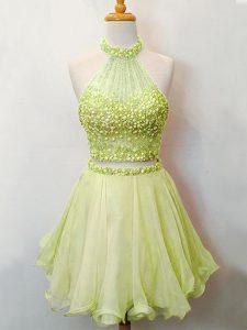 Yellow Green Lace Up Halter Top Beading Vestidos de Damas Organza Sleeveless