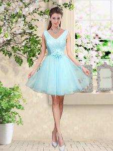 Glittering Aqua Blue Sleeveless Knee Length Lace and Belt Lace Up Vestidos de Damas