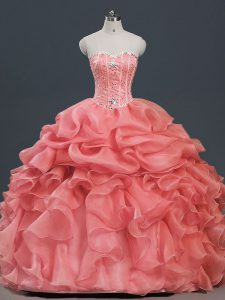 Deluxe Watermelon Red Lace Up Ball Gown Prom Dress Beading and Ruffles and Pick Ups Sleeveless Floor Length