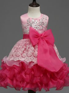 On Sale Hot Pink Zipper Kids Pageant Dress Lace and Ruffled Layers and Bowknot Sleeveless Tea Length