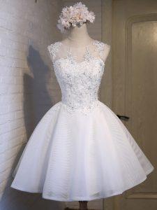 Best Sleeveless Mini Length Lace Lace Up Damas Dress with White