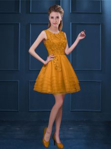 Gold Zipper Vestidos de Damas Lace and Ruffled Layers Sleeveless Knee Length