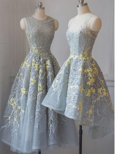 Amazing Grey A-line Tulle Scoop Sleeveless Lace Tea Length Criss Cross Dama Dress for Quinceanera