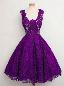 Sleeveless Lace Knee Length Lace Up Dama Dress for Quinceanera in Purple with Lace