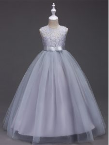 Scoop Sleeveless Zipper Girls Pageant Dresses Grey Tulle