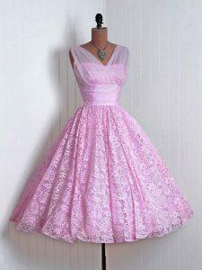 Romantic Lilac Lace Lace Up V-neck Sleeveless Mini Length Damas Dress Lace