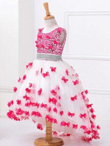 High Low White Girls Pageant Dresses Scoop Sleeveless Zipper