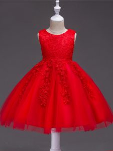 New Style Knee Length Ball Gowns Sleeveless Red Kids Pageant Dress Zipper