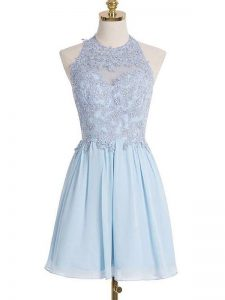 Amazing Halter Top Sleeveless Quinceanera Court of Honor Dress Knee Length Appliques Light Blue Chiffon