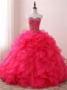 Simple Hot Pink Ball Gowns Sweetheart Sleeveless Organza Floor Length Lace Up Beading and Ruffles Quinceanera Gown