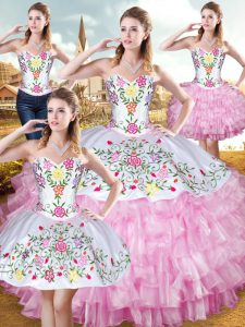Perfect Sweetheart Sleeveless Vestidos de Quinceanera Floor Length Embroidery and Ruffled Layers Rose Pink Organza and Taffeta