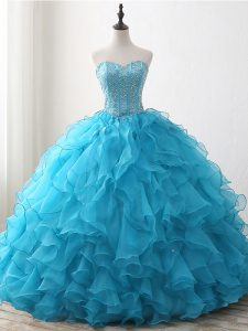 Cute Baby Blue Ball Gowns Sweetheart Sleeveless Organza Floor Length Lace Up Beading and Ruffles Sweet 16 Dress