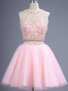Elegant Baby Pink Two Pieces Beading Damas Dress Lace Up Tulle Sleeveless Knee Length