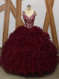 Burgundy Sleeveless Organza Backless Sweet 16 Quinceanera Dress for Military Ball and Sweet 16 and Quinceanera