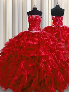 Wonderful Floor Length Wine Red Quinceanera Gowns Organza Sleeveless Beading and Ruffles