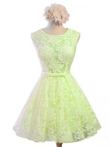 Yellow Green Lace Up Quinceanera Court Dresses Belt Sleeveless Knee Length