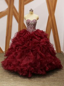 Fashion Burgundy Ball Gowns Beading and Ruffles Vestidos de Quinceanera Lace Up Organza Sleeveless