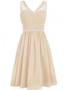 Custom Fit Empire Quinceanera Court Dresses Champagne V-neck Chiffon Sleeveless Knee Length Side Zipper