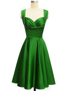 Ruching Quinceanera Court of Honor Dress Green Lace Up Sleeveless Knee Length
