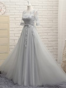 Scoop Half Sleeves Quinceanera Dama Dress Floor Length Appliques Grey Tulle