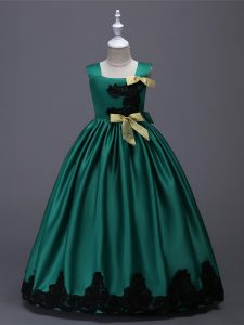 Taffeta Sleeveless Floor Length Little Girls Pageant Gowns and Appliques and Bowknot