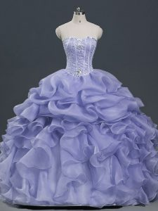 Clearance Organza Sweetheart Sleeveless Lace Up Beading and Ruffles and Pick Ups Quinceanera Dress in Lavender