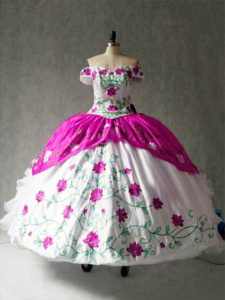 Off The Shoulder Cap Sleeves Lace Up Sweet 16 Quinceanera Dress Multi-color Organza and Taffeta