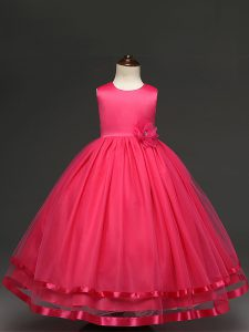 Customized Hot Pink Sleeveless Floor Length Hand Made Flower Zipper Little Girl Pageant Gowns