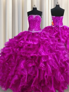 Dazzling Fuchsia Lace Up Quinceanera Gowns Beading and Ruffles Sleeveless Floor Length