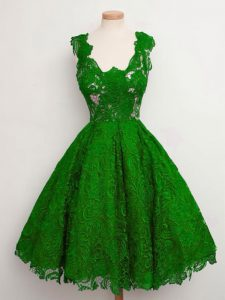 Green Sleeveless Knee Length Lace Lace Up Quinceanera Court of Honor Dress