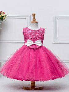 Hot Pink Ball Gowns Lace and Bowknot Kids Formal Wear Zipper Tulle Sleeveless Knee Length