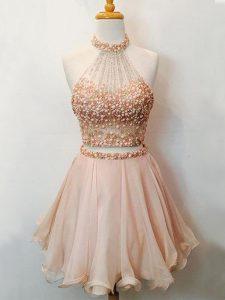 Fitting Halter Top Sleeveless Organza Vestidos de Damas Beading Lace Up