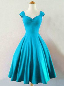 Flirting Sleeveless Taffeta Knee Length Lace Up Damas Dress in Baby Blue with Ruching