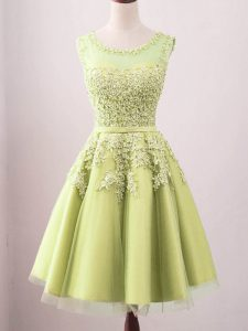 Yellow Tulle Lace Up Quinceanera Dama Dress Sleeveless Knee Length Lace