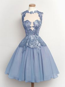 Customized Light Blue A-line Chiffon High-neck Sleeveless Lace Knee Length Lace Up Quinceanera Court of Honor Dress