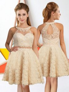 Champagne Halter Top Neckline Lace Vestidos de Damas Sleeveless Zipper