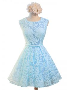 Scoop Sleeveless Vestidos de Damas Knee Length Belt Light Blue Lace