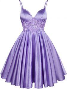 Free and Easy Knee Length Lilac Damas Dress Elastic Woven Satin Sleeveless Lace
