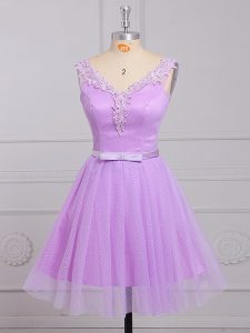 Glittering Sleeveless Mini Length Appliques and Belt Lace Up Court Dresses for Sweet 16 with Lilac