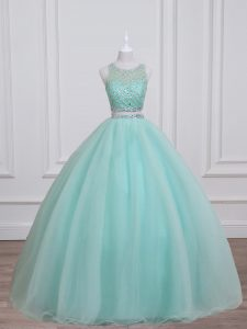 Comfortable Aqua Blue Organza and Taffeta Lace Up Scoop Sleeveless Floor Length Quinceanera Gowns Beading
