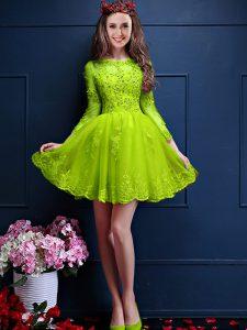 Beauteous Scalloped 3 4 Length Sleeve Lace Up Quinceanera Dama Dress Yellow Green Chiffon