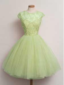 Customized Yellow Green Scoop Lace Up Lace Quinceanera Court Dresses Cap Sleeves